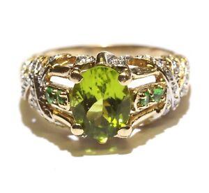 14k yellow gold .10ct diamond oval peridot gemstone ring 6g size 10