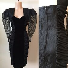XS 80's Vintage Black Velvet & Lace Ruched Wiggle Dress Big Puff Sleeves