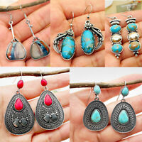 Boho Tibetan 925 Silver Turquoise Dangle Drop Hook Earring Women Retro Jewelry