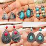Boho Tibetan 925 Silver Turquoise Dangle Drop Hook Earring Women Retro Jewelry