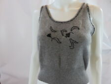 MARIA DI RIPABIANCA Cashmere Gray Sleeveless Beaded Cashmere Sweater Size M