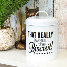 Round Metal White Enamel Cookie Jar Biscuit Barrel Food Storage Canister Holder