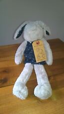 Next  Bunny Rabbit Navy Star Dress Cuddly Baby Soft Toy Comforter Grey Plush