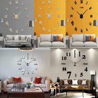 3D Modern DIY Large Wall Clock Mirror Surface Sticker Home Decor Art Design Hot