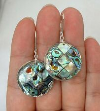 Earrings - - Leverbacks A0211 Dangle Paua Abalone Shell Sterling Silver