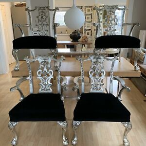 4 Switzer Hand Carved Chippendale Armchairs Silver Leaf Black Mohair Claw & Ball