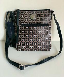 NEW! TOMMY HILFIGER BLACK BROWN PVC MESSENGER CROSSBODY SLING BAG PURSE $69 SALE