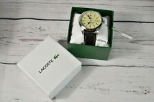 NIB Lacoste Montreal Watch With 44mm Beige Face & Black Leather Band 2010782