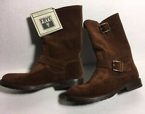FRYE Boots  Women's Veronica 7.5 Buckle  Cognac Suede Leather $268