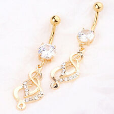 Gold Plated Multi-Gem Dangle Navel Ring Belly Button Piercing Jewelry