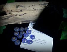 13 Witches Runes and Bag frosted Blue and Gold Witch Wicca pagan Gift