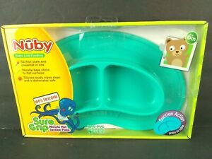 """Baby Section Plate & Nonslip Suction Placemat 100% Silicone Unbreakable 11"""" Teal"""