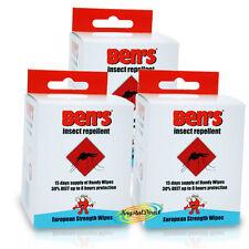 3x Ben's Bens Insect Repellent European Strength 15 Handy Wipes Sachets 30% Deet