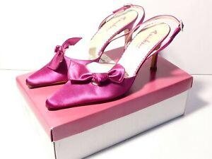Vintage Rainbow Club Lottie CERISE Ladies Satin Court Shoes UK Size 4.5 Re-dyed