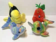 Lot of 4 Plush Assorted Fish TY Sparkle Fiesta Dolphin Different Sizes Colors