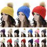 Womens Ladies Winter Pom Beanie Knitted Bobble Ski Outdoor Hat Slouch Wooly Cap