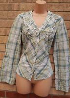 G21 GREEN CHECK TARTAN FLORAL EMBROIDERED BUTTONED LONG SLEEVE BLOUSE SHIRT 10 S