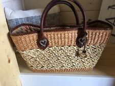 Brighton Two Tone Woven Straw Jute Purse Tote Handbag Leather Trim Double Handle