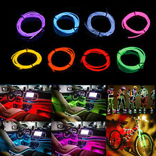 1M/3M/5M Neon LED Light Glow EL Wire String Strip Rope Tube Decor Car DanceParty