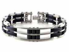 316L Stainless Steel & Silicone Rubber Bracelet/Chain/Cuff/Wristband/8.5 inches