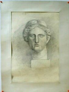 """Vintage Original Signed Graphic Drawing. """"Head of Armenian Goddess Anahit"""" 1960s"""