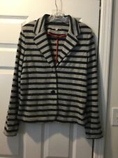 GAP Womens Knit Blazer Jacket Navy Blue & Gray Striped Long Sleeves Sz Medium M