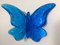 Fenton Cobalt Blue Butterfly Hand Blown Art Glass Figurine EUC, Ruffled Edge