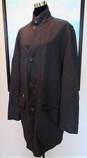 Ermenegildo Zegna Italy Black Nylon Leather Trim Trench/Rain Coat Sz 50