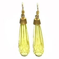 De Buman 18K Yellow Gold 36.15ctw Drop Lemon Quartz with Diamond Dangle Earrings