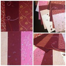 Handmade Craft Paper Metallic Embossed Pearlescent Assorted Red Tones