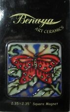 "BENAYA ART CERAMICS   ""BUTTERFLY  SQUARE MAGNET"" SQBFLY MINT IN SLEEVE"