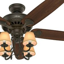 "54"" Hunter Traditional Ceiling Fan with Light and Canvas Shades in New Bronze"