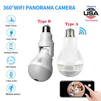 360° Panoramic IP Security Camera Light Bulb HD Fisheye 1080P Wifi Hidden Cam US