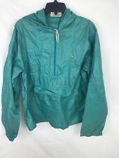 Vtg Izod Lacoste Nylon 1/2 Zip Windbreaker Jacket Men Sz M Hood Kangaroo Pocket