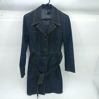 Bisou Bisou Womens Blue Long Sleeve Mid Length Denim Coat Jacket Size Large