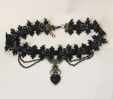 Black Lace Choker Necklace Heart Pendant Goth BDSM Halloween