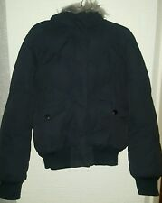 Navy faux fur hooded jacket size 10