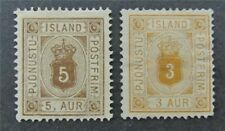 nystamps Iceland Stamp # O4.O5 Mint $56