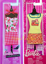 BARBIE FASHIONISTAS Outfits Red Gingham Flowers & Yellow SWEET LOVE Dress 2 PACK
