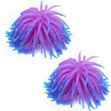 2 x Silicone Aquarium Fish Tank Coral Ornament Decoration--Purple AD