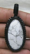 67 CTS MACRAME PENDENT WHITE HOWLITE  COTTON WAXED CORD HANDMADE M-60