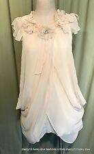 NWT Sweet Ryu Cream Polyester Sleeveless Lined Side Zip Dress Size S