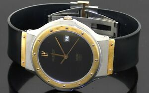 Hublot MDM 2-tone SS high fashion 36mm quartz men's watch w/ date & Black dial