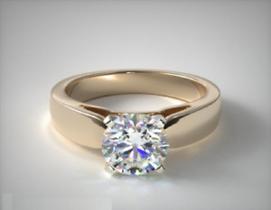 1.75 CT MOISSANITE SOLITAIRE ENGAGEMENT WEDDING FINE RING 14K YELLOW GOLD PLATED