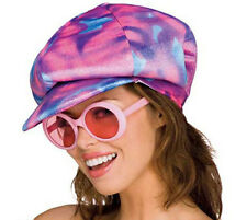 70's Cap & Glasses Pk & Bl Tie Dye Velour Applejack Hat W/ Pk Shaded Glasses OS