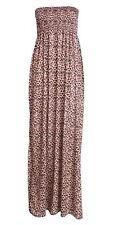 Womens Plus Size Boob Tube Printed Strech Sheering Summer Maxi Dress 8-26 Leopard Print 24-26