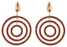 Zest Golden Geometric Circle Pierced Earrings with Swarovski Crystal Red