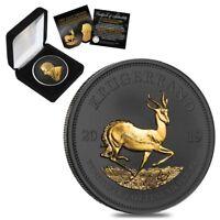 2019 South Africa 1 oz Silver Krugerrand Black Ruthenium 24K Gold Edition (w/Box