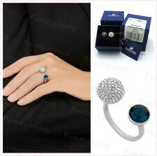 Authentic NIB Swarovski Blue Crystal Palladium Plated Bezel Forward Open Ring