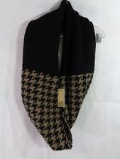 Look Collection Women's Black Brown Houndstooth Infinity Scarf One Size NWT